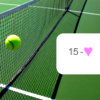 feather_ghyll: Tennis ball caught up at mid net's length with text reading 15 - love (Anyone for tennis?)