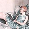 feather_ghyll: drawing of a girl from the 1920s reading a book in a bed/on a couch (Twenties girl reader)