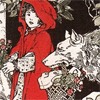 acrossthefloors: A line drawing of Red Riding Hood, with a wolf carrying her basket of flowers. (would you offer your throat to the wolf)
