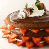 monksandbones: A chocolate layer cake literally bristling with strawberries, topped with more chocolate and more strawberries (caaaaaaaaake)