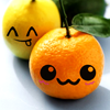 moyashiii: A lemon and an orange with faces drawn on. (cute fruit)