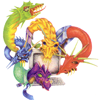 elf: Five dragon heads of different colors coming out of a monitor. (Internet dragons)
