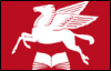 nightdog_barks: Red Mobil Pegasus flying over an open book (Pegasus and book)