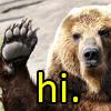 "sholio: bear raising paw and text that says ""hi"" (Bear)"