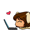 tlvop: drawing of a girl with puppy ears using her laptop, with a heart emoticon floating overtop (puppy!me, happy laptops)