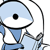 tlvop: drawing of an astronaut shark reading a book (books)