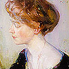 abeiramar: A painting of the profile of a young woman smiling (Painting)