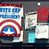 """recessional: a screen shot of the bulletin-board from the trailers for the game """"avengers academy"""" (game; shouldn't enjoy this so much)"""