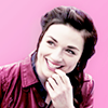 bluegansey: allison argent laughing and smiling with a pink background (allison argent pink)