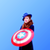 bluegansey: peggy carter holding captain america's shield on a blue background (peggy carter blue)