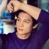 citizendamian: Joseph Marco in a purple long sleeved shirt leaning on a mirror recently wiped clean from condensate (Damian(sickofshadows))