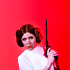 bluegansey: leia organa holding blaster and looking determined on a red background (leia organa red)