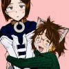 brightblueink: Shader hugging an embarrassed Fiore (OTP)