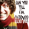 "sally_maria: Grinning - with text ""Can you tell I'm happy?"" (Doctor Four - Happy)"