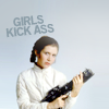 ninamalfoy: Leia clad in white and holding a gun, looking serious, light blue background, above: 'Girls kick ass' (star wars:leia kicks ass)