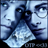 ninamalfoy: cutout of a picture of Harry & Draco, foreheads touching and looking at you, blue tint, lower right corner: 'OTP <<33' (hp:my first otp)