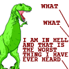 "the_sun_is_up: Satan from Dinosaur Comics saying ""What, what, I am in hell and that is the worst thing I've ever heard!"" (dinos - the worst ever)"