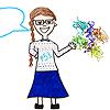 liv: Cartoon of a smiling woman with a long plait, teaching about p53 (teacher)