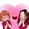 the_sun_is_up: Kyoko and Moko from Skip Beat standing inside a heart shape, smiling cutely at each other. (skip beat - so adorable and gay)