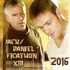 jd_ficathon: Daniel and Jack from the episode Abyss, on a brown background (2016 by sallymn)