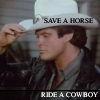 backtothelight: David Hasselhoff in a white cowboy hat. (Save a horse - ride a cowboy)