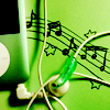 tinfoiltennis: A green iPod and headphones laid on top of a musical stave drawn in felt tip (✎ pop my headphones in)