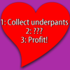 "dru_evilista: ""1: Collect underpants. 2: ??? 3: Profit!"" (Thinking Slashy Thoughts)"