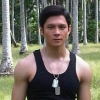 citizendamian: Joseph Marco in a birch forest wearing a black tanktop and dogtags (Damian(dogtag))