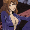 doubleppk: Fujiko in a blue leather catsuit, mostly unzipped (blue jacket, Blue jacket, open and inviting)