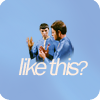 "slash4femme: Spock shows McCoy how to do the Vulcan salute. Across them are the words ""like this?"" (Star Trek: TOS Spock/McCoy)"