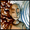 jjhunter: Serene person of color with shaved head against abstract background half blue half brown (scientific sage)