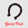 helloladies: Gray icon with a horseshoe open side facing down with pink text underneath that says Guest Post (guest post)