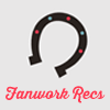 helloladies: Gray icon with a horseshoe open side facing down with pink text underneath that says Fanwork Recs (fanwork recs)