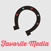 helloladies: Gray icon with a horseshoe open side facing down with pink text underneath that says Favorite Media (favorite media)