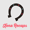 helloladies: Gray icon with a horseshoe open side facing down with pink text underneath that says Xena Recaps (xena recaps)