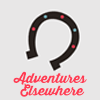 helloladies: Gray icon with a horseshoe open side facing down with pink text underneath that says Adventures Elsewhere (adventures elsewhere)
