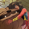 reflectedeve: Kamala Khan, as Ms. Marvel, hugs Lockjaw the huge dog (supercuddle - puppy)