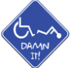 "meteloides: A blue diamond-shaped sign, showing a wheelchair and a person fallen out of it, with text saying ""Damn it"". (damnit disability)"