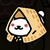 shadowspar: A cute white cat with red eyes, wearing a Japanese mino (straw coat) (frosty)
