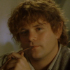 tinidril: photo of Samwise smiling, holding a pipe (calm, happy, thoughtful)