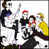 go0se: A coloured sketch of the Fabulous Killjoys hanging out together, sitting around, one playing guitar. (hangouts)