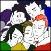 go0se: A coloured sketch of the five Fabulous Killjoys leaning their heads together in a group-hug. (hugs)