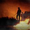 chanter_greenie: paratroopers walk across Carentan, with fire burning in the background (BoB - Carentan: dang mosquitos!)