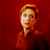 silverhare: Kira on a red background (trek: ds9 - kira [red])