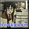 "bookblather: A picture of Yomiko Readman looking at books with the text ""bookgasm."" (bookgasm)"