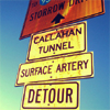 sofiaviolet: road signs in Boston: Storrow Dr., Callahan Tunnel, surface artery, detour (Boston)