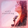 "bookblather: A picture of Laura Roslin looking up. Text is ""still standing."" (still standing)"