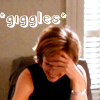 bookblather: A picture of CJ Cregg with her head bowed and her hand over her face, laughing. Text is *giggles* (giggles)
