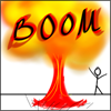 "cloud_riven: stick person standing next to a mushroom cloud. ""BOOM"" written overtop! Ka-boom! (BOOM!!!!)"