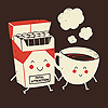cloud_riven: Cute cigarrette box and coffee cup, with smiley faces, holding hands! Adorable! (bff)